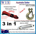 10mm x 30m Red Synthetic Winch Rope & Aluminum Hawse Fairlead & G70 Clevis Hook
