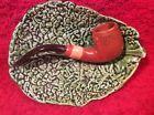 Antique Majolica pipe on Leaf Plate Match Holder Dish c1800's, fm956