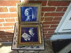 TWO FRAMED DELFT BLUE HANDPAINTED CERAMIC TILES MADE IN HOLLAND # J521A