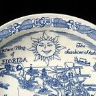 Vernon Kilns State Map Plate FLORIDA Blue & White Souvenir Collector Vintage