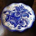 Vintage Portugal Hand Painted Blue White Floral Footed CAKE PLATE 15