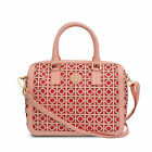NWT Tory Burch Kelsey Middy Saffiano Leather Satchel Bag SHELL PINK/RED $550+