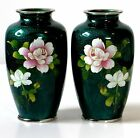 Pair Japanese Cloisonne Emerald Green Ginbari Silver Rim Vases Signed Pristine!