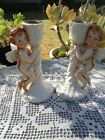 Pair Vintage Porcelain Cherub Angels Porcelain And Bisque Finish