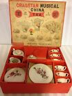 Vintage Cragstan Musical China Toy Tea Set In Original Box Roses