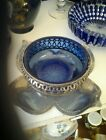 Blue cobalt dish in silver plate leaf like base