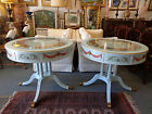 Pair French Large Hand Decorated Drum Tables - Duncan Phyfe 2 Drawer Side Tables