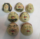 7 Antique Japan Sake Saki Cups-Ceramic-Asian Faces-OLD! Wine Glasses-Shot Glass