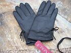NEW Ladies Black Sheep Leather Driving Gloves Lined LG XLG Side Ruching w/ Bow M
