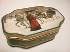 Vintage Tin Metal Box - Christmas Scene Scenic Horse -Tea Caddy Tobacco Trinket