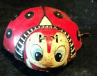 Vintage Wind Up Metal Lady Bug Toy Friction Tin Toy As Is