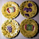 Sarreguemines Majolica plates embossed fruit leaves set of 4 France early 1900's