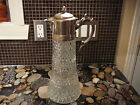 VINTAGE DIAMOND POINT CUT GLASS & SILVER PLATE DECANTER WINE CARAFE PITCHER EWER