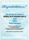 2014 JACOB DEGROM TOPPS FINEST MYSTERY REDEMPTION #2 AUTO ROOKIE RC