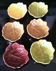 Set of 6 Olfaire Majolica Made in Portugal Autumn colored Leaf Bowls