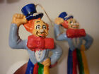 Vintage Set 2 Christmas Tree Ornament Clown (Blue) - Early Plastic Hand Painted