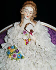 Antique GERMAN DRESDEN LACE MULLER LADY QUEEN ON SETTEE Porcelain Figurine