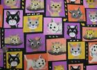 Block Cats Flannel Cotton Fabric CHOICE YOUR LENGTH