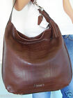 NWT COACH Fabulous Fig Brown Embossed Leather Shoulder Tote Hobo Purse Handbag
