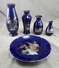 Cobalt Blue JAPANESE VASES PEACOCKS FLOWER ART PLATE JAPAN