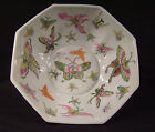"""Chinese 9"""" Octagon Butterfly Bowl Porcelain Hand Painted Enamel Qing Jiaqing Vtg"""