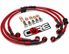 KAWASAKI ZX6R ZX636 2005-2006 STEEL BRAIDED FRONT AND REAR BRAKE LINES TRANS RED