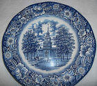 Liberty Blue Independence Hall Plate Blue White Staffordshire England Ironstone