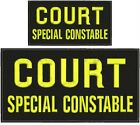 COURT SPECIAL CONSTABLE Embroidery Patches 5x10 and 3x6 YELLOW LETTERS Velcro