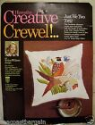Erica Wilson Crewel Just We Two Pheasant Wedding Anniversary Vintage 1970 Pillow
