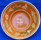 Large antique yellow slip-decorated & polychromed dated 1866 redware mixing bowl