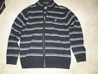 Beverly Hills Polo Club Sweater Top Full Zip Black with Gray Stripes Men-size M