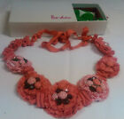 BODEN - CORAL RED STRIPE ROSETTE CORSAGE NECKLACE - IN BAG AND BOX   (wo)