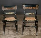 Two decorated Hitchcock style side chairs with cane seats, turned leg... Lot 401