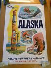 ORIGINAL 1960s PACIFIC NORTHERN AIRLINES TRAVEL POSTER ALASKA FLAG LINE SKIING