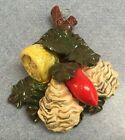 Deruta Pottery-fruit Wall Plaque With Relief.Made/Painted by hand-Italy