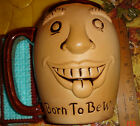 VTG ESTATE ANTHROPOMORPHIC BORN TO BE WILD STUDIO THROWN POTTERY FACE MUG STEIN