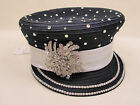 NEW- Captains Hat Sequins Church Derby Cogic Newsboy Style All Season Ink/Silver