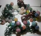 6X STRANDS 80+ BULB VINTAGE FROSTED ICE SNOWBALLS ICED FROSTED CHRISTMAS LIGHTS.