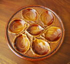 WONDERFUL VINTAGE MID CENTURY ST CLEMENT n QUIMPER CABINET BROWN OYSTER PLATE #1