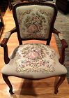 2 Vintage Beige Needlepoint Carved Wood French Louis XVI Accent Chairs