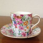 Vintage Lord Nelson Ware Marina Chintz Demitasse Cup Saucer Set Pink Flowers
