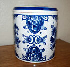 DELFT MADE IN HOLLAND JAR POT CANISTER WITH LID  HANDPAINTED FLOWERS 4.5 X 4