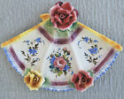 Italian Majolica Pottery Hand Painted Plate Fan-Shaped Capodimonte Style Flowers