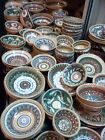 Folk Art Ceramic Clay Authentic Plates Bowl Ukrainian Majolika Handmade Lot 2