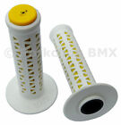 AME old school BMX Unitron bicycle grips WHITE over YELLOW MADE IN USA NEW