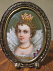 Antique Hand-Painted Portrait on Porcelain of Queen in Metal Frame w/ Stand