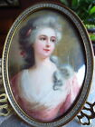 Small Oval Victorian Picture of Silver-Haired Woman 'France' Frame: Bowed Glass