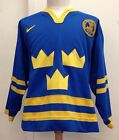 Vintage Authentic Team Sweden Olympic Hockey Jersey Men's 50 Nike Fight Strap