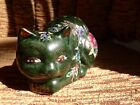 CHINESE PORCELAIN HAND PAINTED GREEN GOLD KITTY CAT FIGURINE W/ FLOWERS 4