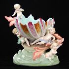 Fabulous Continental Porcelain Bowl Sea Creature Lifting Shell with Putti